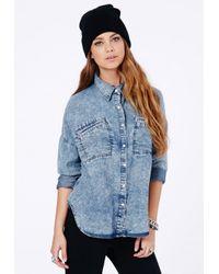 Missguided - Blue Cidalia Denim Boyfriend Shirt - Lyst