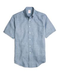 Brooks Brothers | Blue Madison Fit Check Linen Short-sleeve Sport Shirt for Men | Lyst