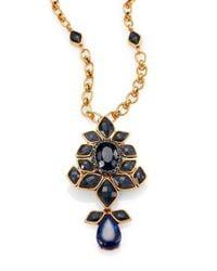 Oscar de la Renta - Blue Jeweled Convertible Brooch & Pendant Necklace - Lyst