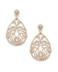 Adriana Orsini | Metallic Pave Crystal Floral Filigree Teardrop Earrings | Lyst