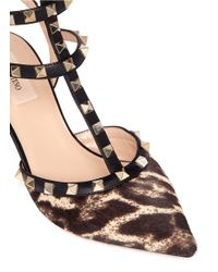 Valentino - Multicolor Rockstud Leopard Calf-hair Caged Pumps - Lyst