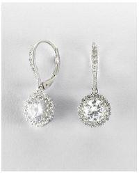 Nadri | Metallic Rhodium-plated Round Cubic Zirconia Drop Earrings | Lyst