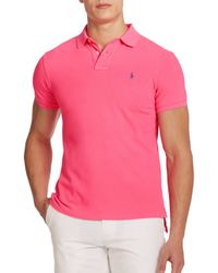 Polo Ralph Lauren | Pink Slim-fit Mesh Polo for Men | Lyst