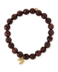 Sydney Evan | Brown 8mm Faceted Red Garnet Beaded Bracelet With 14k Gold Diamond Fortune Cookie Charm | Lyst