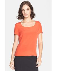 St. John | Orange Silk Crepe De Chine Shell | Lyst