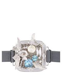 Heaven Tanudiredja - Gray Squircle Leather Bracelet - Lyst