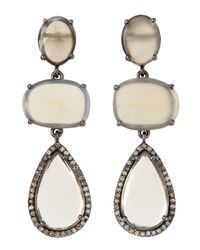Bavna | White Moonstone Triple Drop Earrings | Lyst