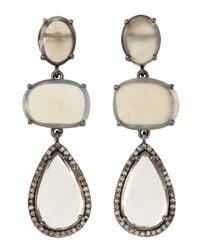 Bavna - White Moonstone Triple Drop Earrings - Lyst