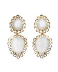 Bounkit | Moonstone & White Topaz Teardrop Earrings | Lyst