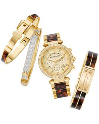 Michael Kors | Metallic Gold-Tone Tortoise Acetate Buckle Bangle Bracelet | Lyst