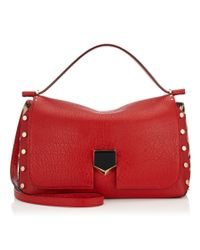 Jimmy Choo   Lockett/m Red Grainy Leather And Snow Leopard Print Pony Handbag   Lyst