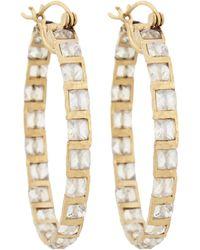Nak Armstrong - Metallic Rainbow Moonstone & Hammered Gold Hoop Earrings - Lyst
