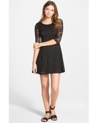 Lush | Black Lace Fit & Flare Dress | Lyst