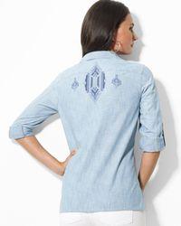 Ralph Lauren - Blue Lauren Roll Sleeve Shirt with Embroidery - Lyst