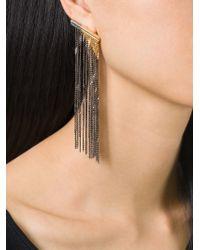 MM6 by Maison Martin Margiela | Metallic Fringed Earring | Lyst