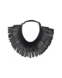 hayden-harnett | Black 'ilaria' Leather Fringe Collar Necklace | Lyst