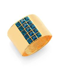 Kenneth Jay Lane - Blue Square-Cut Wide Hinged Cuff Bracelet - Lyst