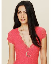 Free People - Metallic Moon Necklace - Lyst