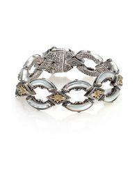Konstantino - Metallic Ismene Mother-of-pearl, 18k Yellow Gold & Sterling Silver Curved Link Bracelet - Lyst