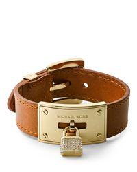 Michael Kors - Brown Pave Padlock Leather Bracelet Golden - Lyst