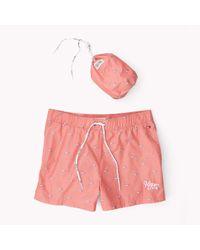Tommy Hilfiger | Red Printed Swimshort for Men | Lyst