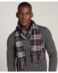 Burberry | Blue Navy Check Cashmere Fringe Scarf for Men | Lyst