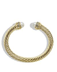 David Yurman - Metallic Crossover Bracelet with Pearls and Diamonds in Gold - Lyst