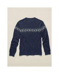 RRL - Blue Cotton Jersey Henley Shirt for Men - Lyst