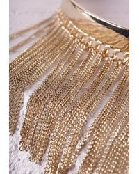 Missguided | Metallic Statement Chain Detail Choker Gold | Lyst