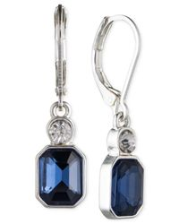 Anne Klein - Silver-tone Blue And Clear Stone Leverback Earrings - Lyst
