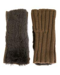 Yves Salomon - Natural Ribbed Fingerless Gloves - Lyst