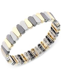 Nine West | Metallic Tri-tone Stretch Bracelet | Lyst