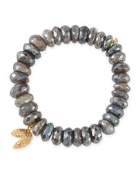Sydney Evan | Metallic 8mm Faceted Labradorite Beaded Bracelet With 14k Gold/diamond Fortune Cookie Charm | Lyst