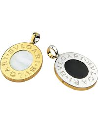BVLGARI | Metallic - 18Ct Yellow-Gold And Steel Pendant With Mother Of Pearl And Black Onyx - For Women | Lyst