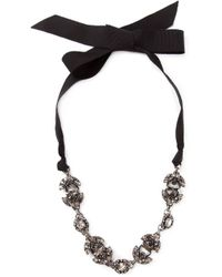 Lanvin | Black Crystal Ribbon Necklace | Lyst
