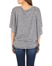 Izabel London | Gray Batwing Knit Top With Drawstring Detail | Lyst