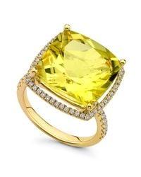 Kiki McDonough - Yellow Grace Lemon Quartz & Diamond 18K Gold Ring - Lyst