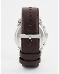 Armani Exchange - Outerbanks Chronograph Watch With Leather Strap Ax2506 - Brown for Men - Lyst