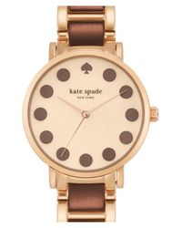 kate spade new york - Brown 'gramercy' Dot Dial Bracelet Watch - Lyst