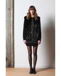 Laila Azhar | Black Faux Fur Panel Sweater Jacket | Lyst