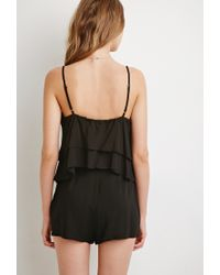 Forever 21 | Black Layered Flounce Romper | Lyst