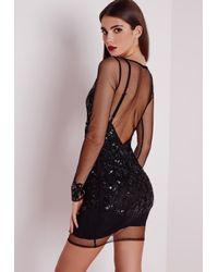 Missguided - Premium Embellished Long Sleeve Mesh Bodycon Dress Black - Lyst