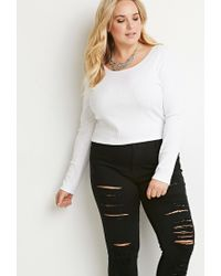 Forever 21 - White Plus Size Classic Ribbed Top - Lyst