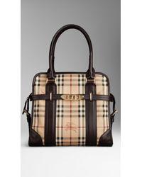 Lyst - Burberry Medium Haymarket Check Portrait Tote Bag in Natural 6d48301f80