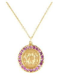 "Emily & Ashley | Purple Classic 3/4"" Charm Disc With Pink Sapphires 