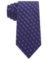 Michael Kors - Blue Michael Four Point Tonal Stripe Slim Tie for Men - Lyst