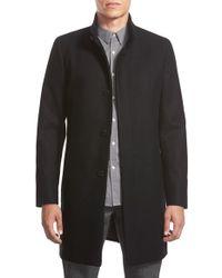 Theory - Black 'belvin' Wool Blend Car Coat for Men - Lyst