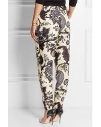J.Crew - Black Collection Noir Floral-Print Silk Tapered Pants - Lyst