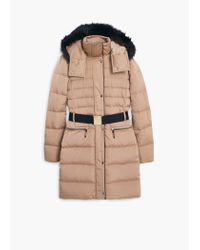 Mango | Natural Detachable Hood Quilted Coat | Lyst