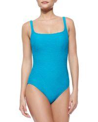 Gottex - Blue Textured One-Piece Swimsuit - Lyst